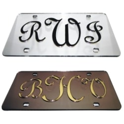 Three Initial Script Monogram<br>Auto Tag, License Plate<br>A truly unique front car plate