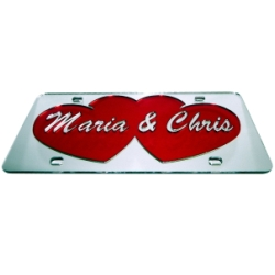 Mirrored Double Hearts Theme Personalized License Plate