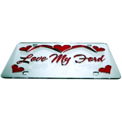A heart theme custom mirror<br>Auto Tag, License Plate<br>Put this front car tag on your car with your phrase<br>