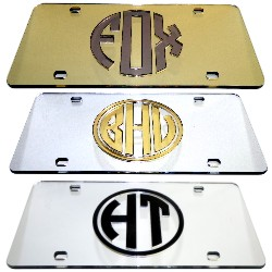 A first class Circle Monogram Laser<br>License Plate, Auto Tag<br>This front car plate will add a touch of class to your automobile
