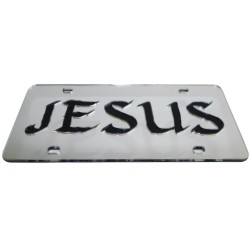 Mirrored Jesus Vanity <br>License Plate - Auto Tag<br>Beautifully inlaid with Old Style<br>Jesus Text, and Crafted form<br>Durable Acrylic Mirror<br>