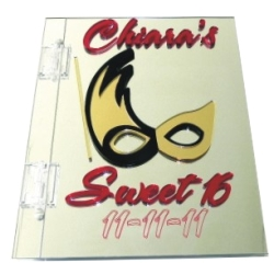 Mardi Gras Mask Sweet 16 Sign In Book